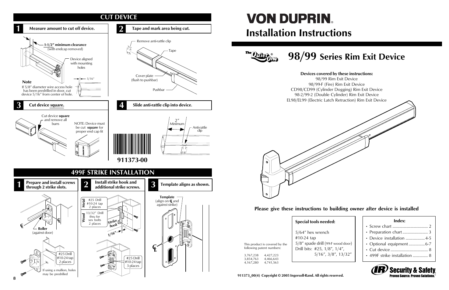 Factory direct hardware von duprin 98eo user manual 4 for Von duprin 99 template