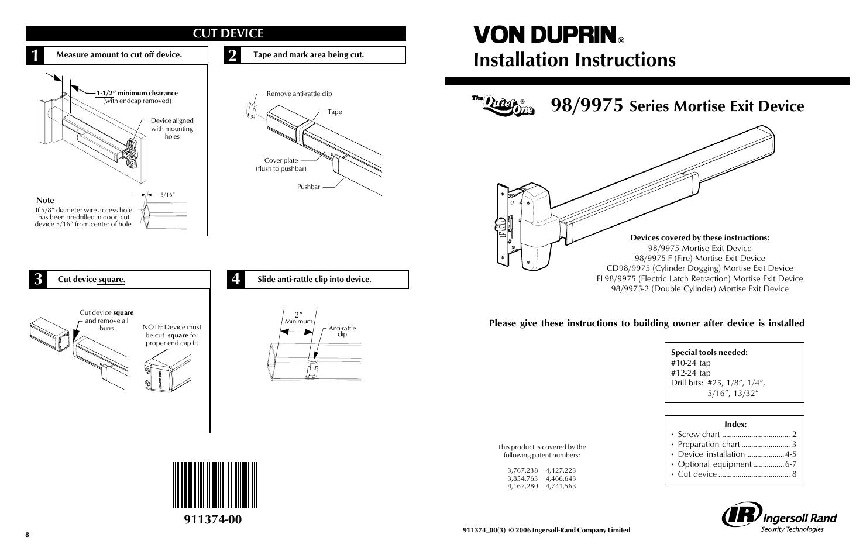 97 2 Von Duprin 6100 Series Electric Strike 33 35a Ps873 Wiring Diagram Factory Direct Hardware 9847eof3 User Manual