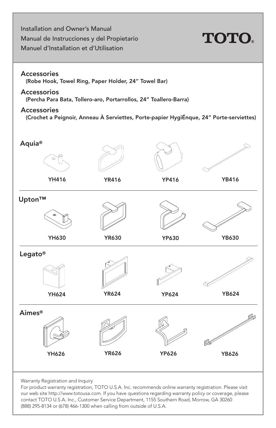 Factory Direct Hardware Toto YH416 Aquia User Manual | 11 pages ...