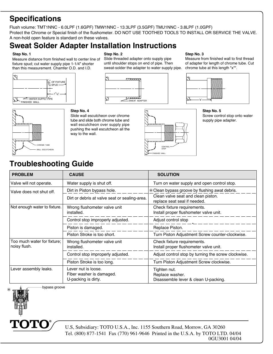 Specifications, Sweat solder adapter installation instructions ...
