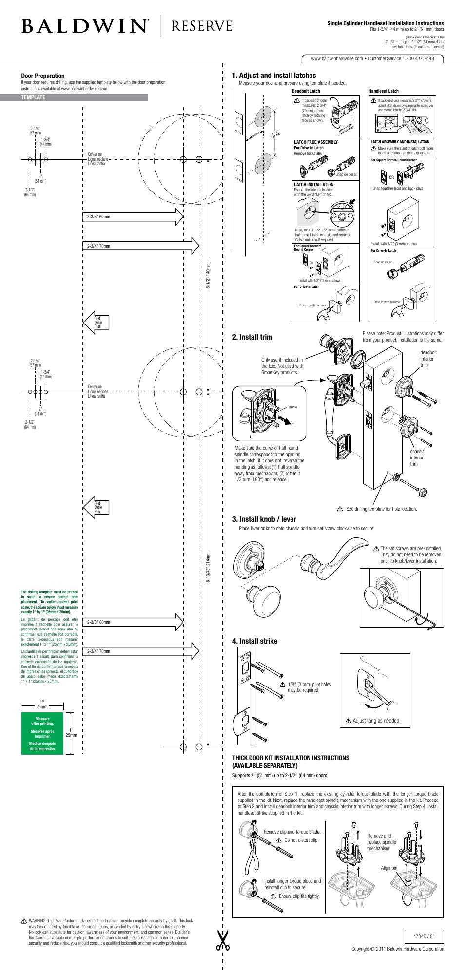 Baldwin Columbus Handleset User Manual 2 Pages Also