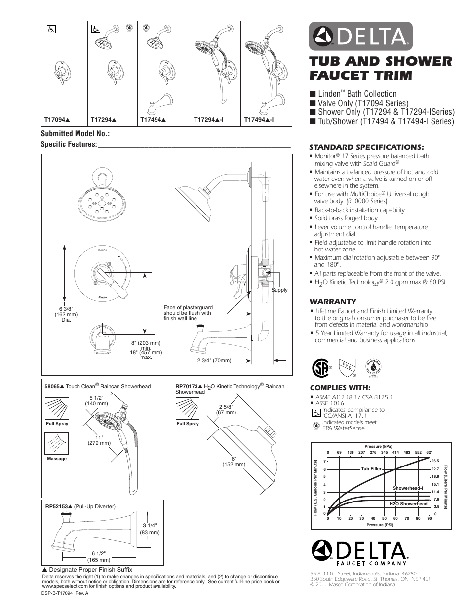 Factory Direct Hardware Delta T17494 I Linden User Manual 1 Page Also For T17294
