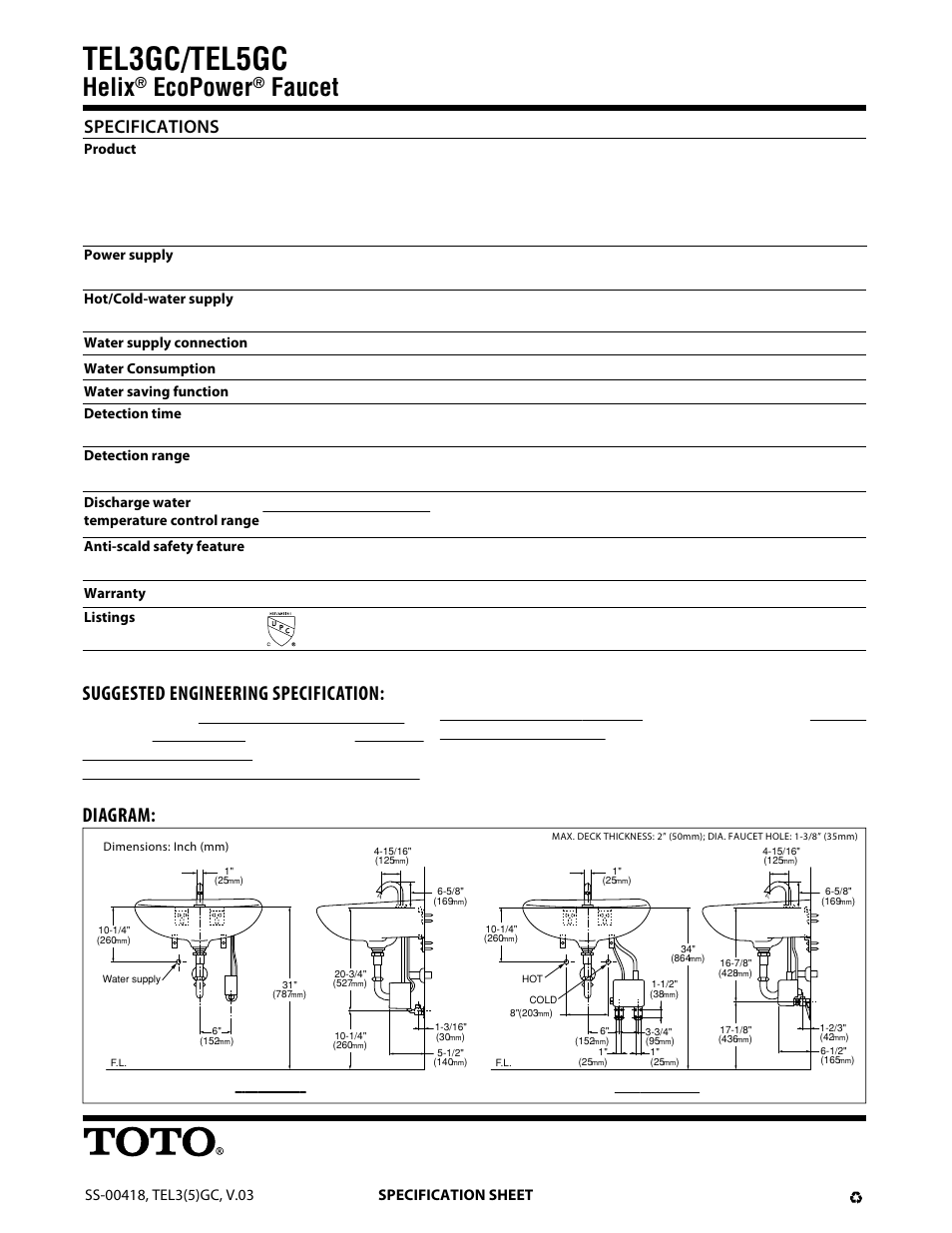 Tel3gc/tel5gc, Helix, Ecopower | Factory Direct Hardware Toto ...