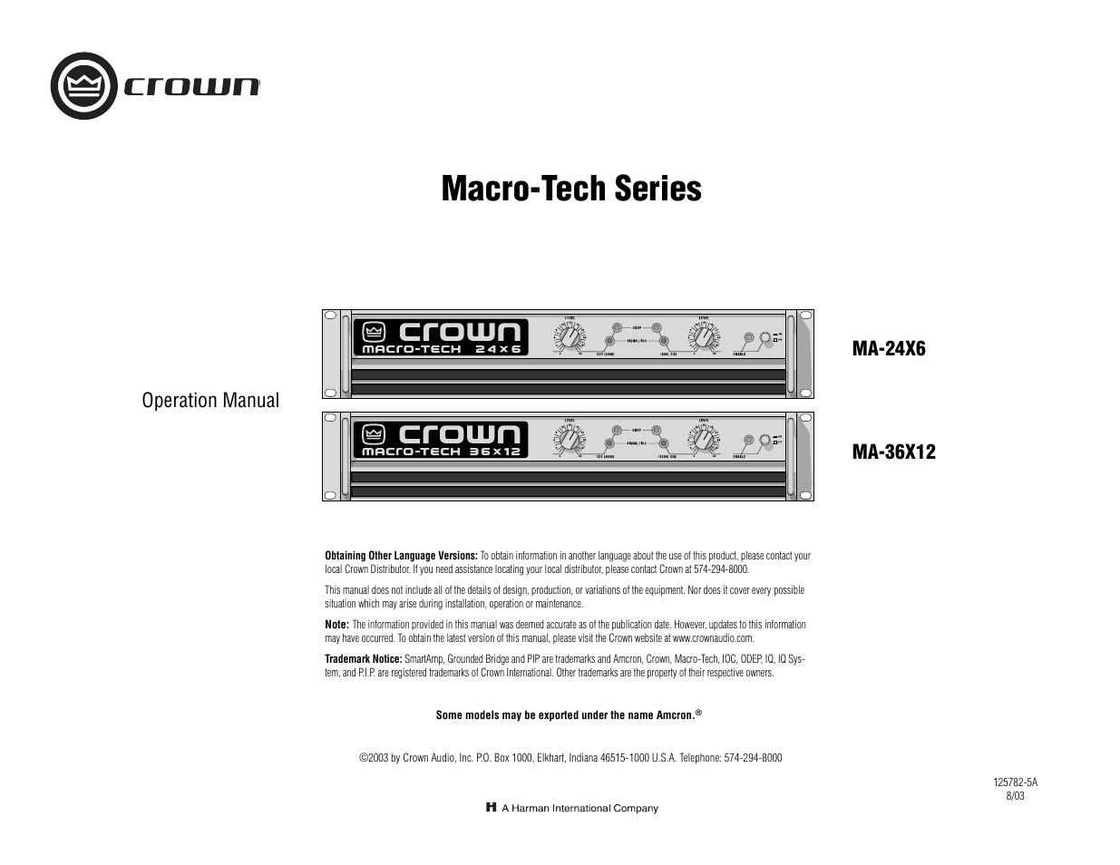 Crown Audio Macro-Tech Series (24x6 & 36x12) User Manual