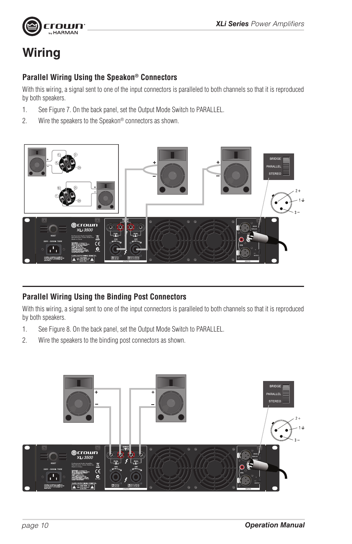 Wiring Parallel Using The Speakon Connectors Crown Audio Speakers Xli Series User Manual Page 10 14