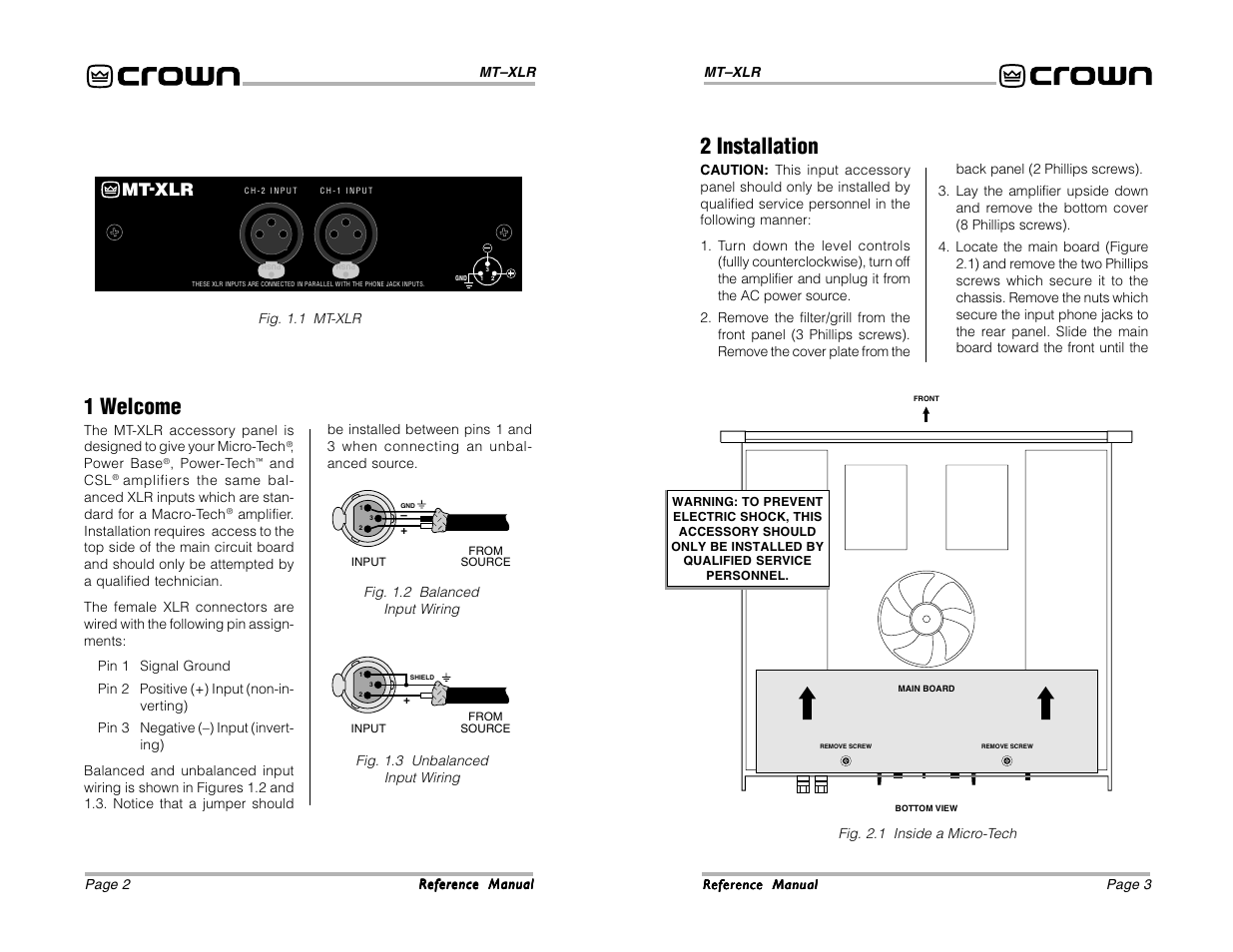 2 Installation 1 Welcome Mt Xlr Crown Audio User Manual Wiring Jack Panel Page