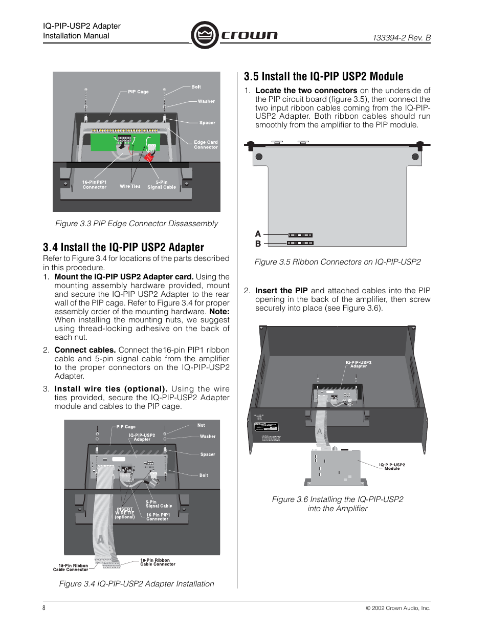 4 install the iq-pip usp2 adapter, 5 install the iq-pip usp2 module | Crown  Audio IQ-PIP-USP2 Adapter User Manual | Page 8 / 12