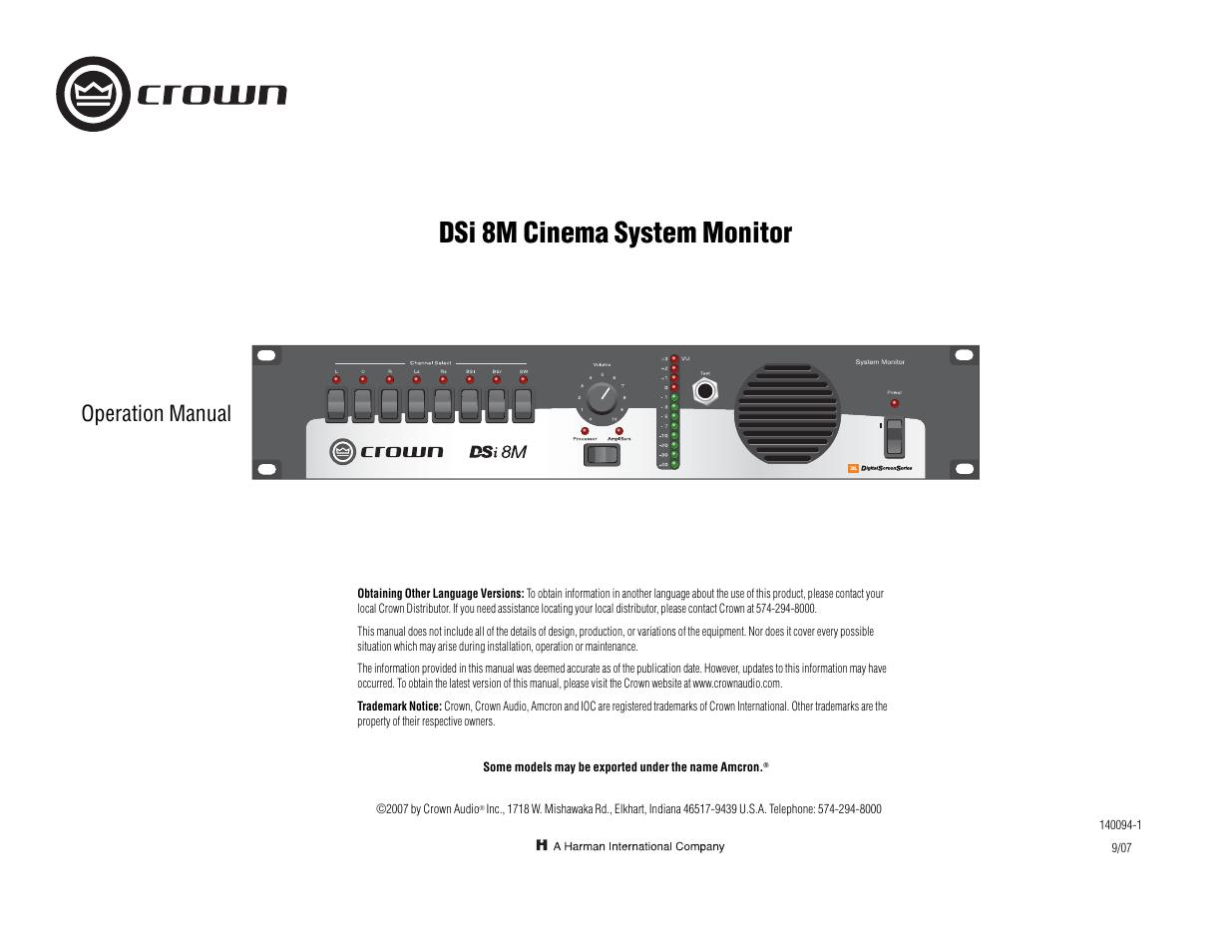 crown audio dsi 8m user manual 20 pages rh manualsdir com Nintendo DSi Operations  Manual DSi an Error Has Occurred