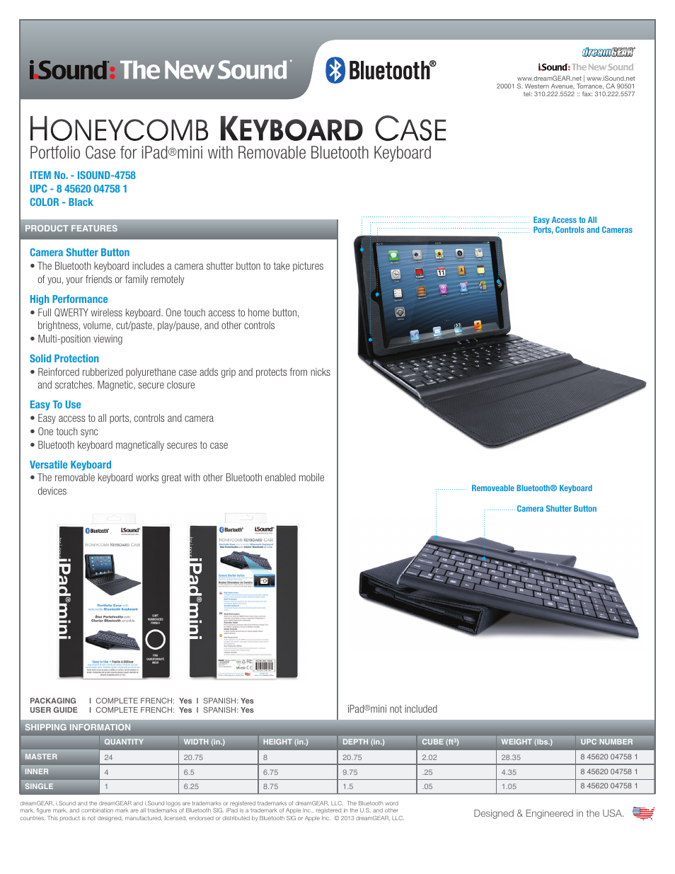 iSound Honeycomb Keyboard Case with Bluetooth for iPadmini