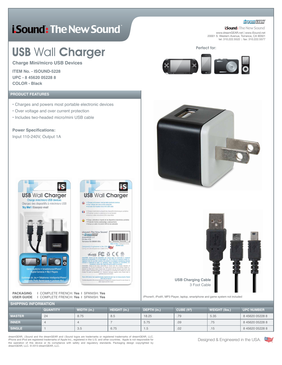 Isound Usb Wall Charger Sell Sheet User Manual 1 Page Mini Diagram