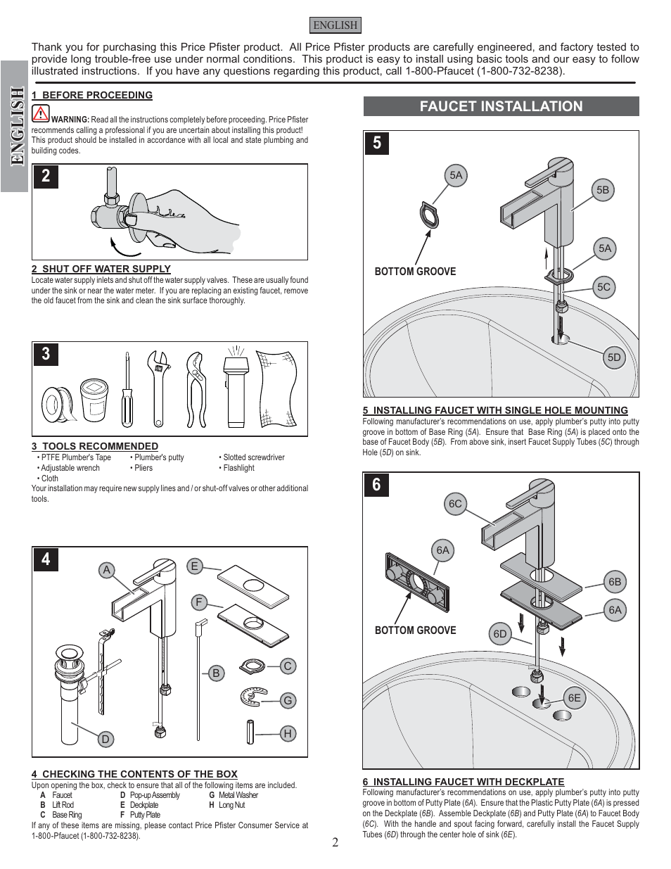 English Faucet Installation Pfister F 042 Vgkk User Manual Page