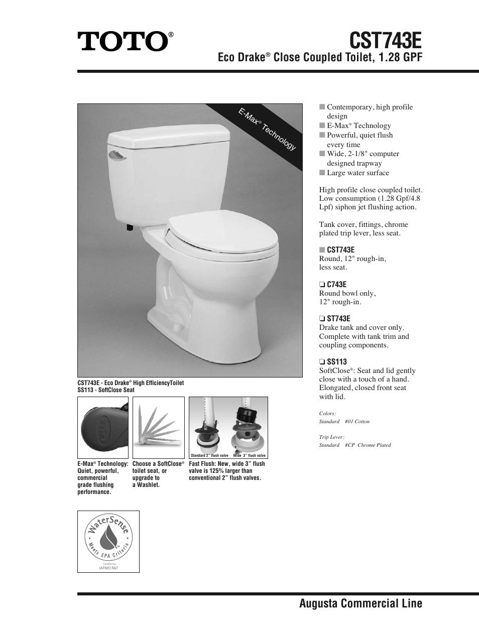 Factory Direct Hardware Toto CST743E Eco Drake User Manual