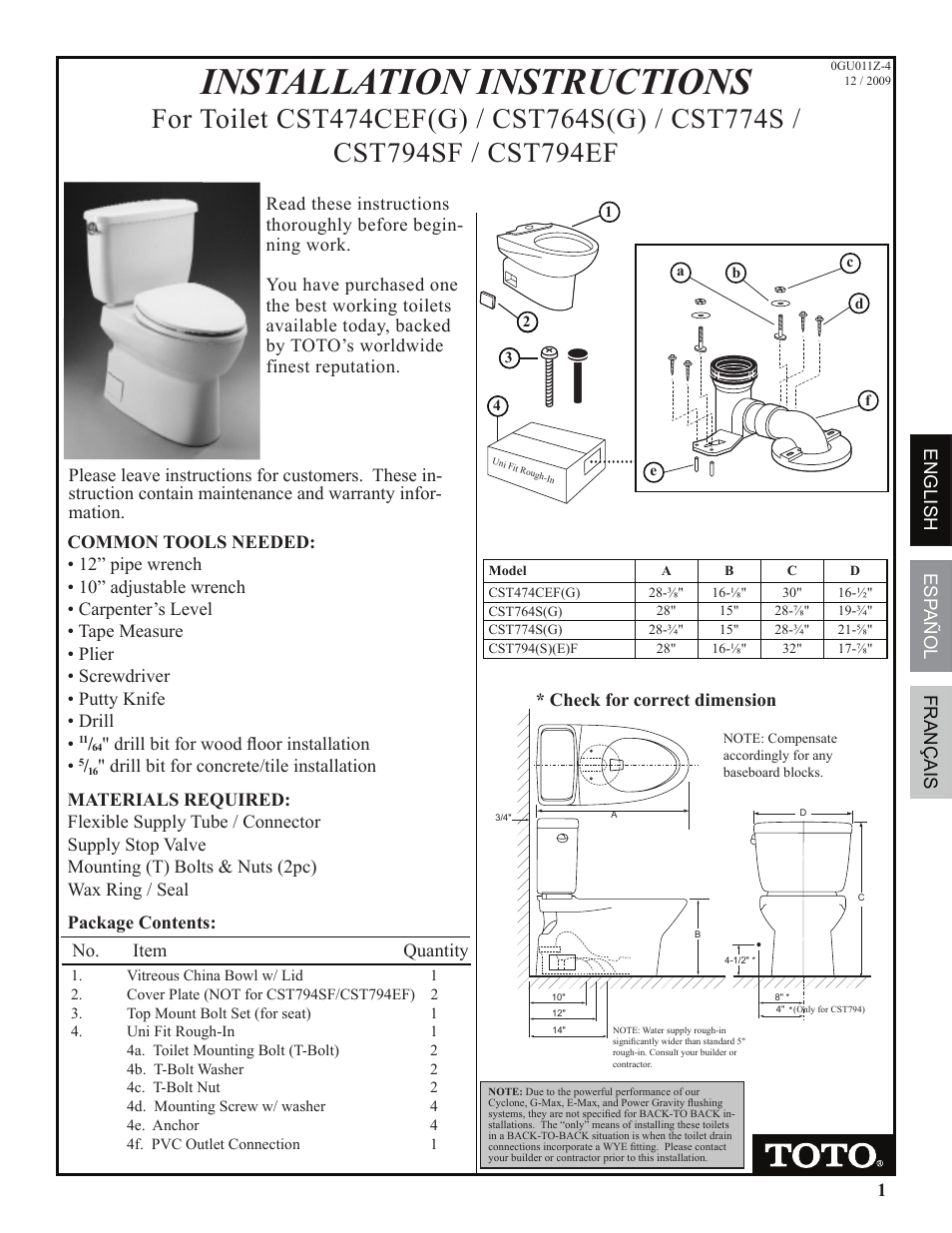Factory Direct Hardware Toto Cst474cefg Vespin User Manual 12 Pages