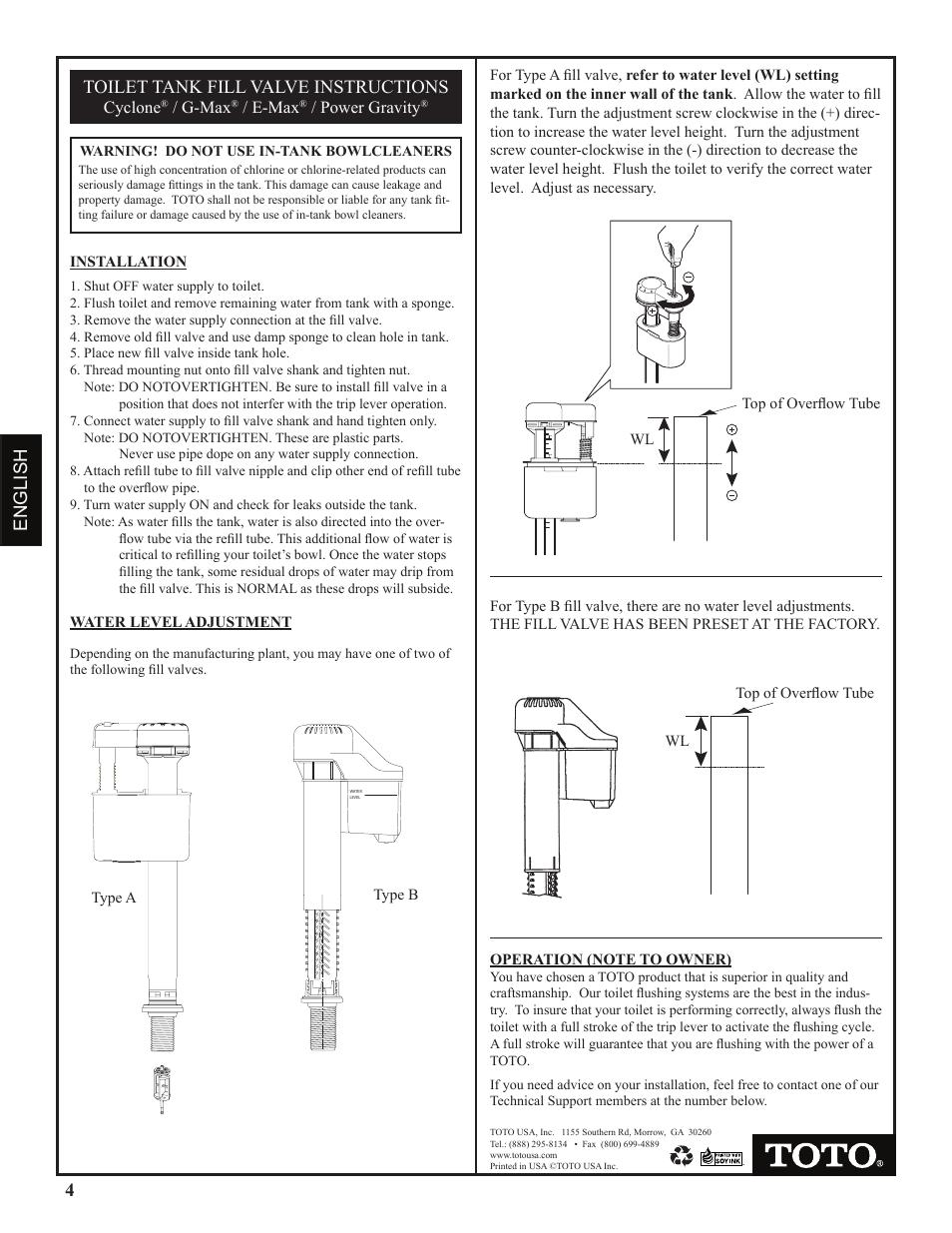 4english toilet tank fill valve instructions | Factory Direct ...