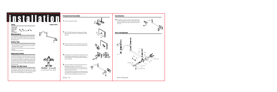 Steps 15 parts    diagram      Factory Direct Hardware Belle    Foret    N18001 One Hole User Manual   Page