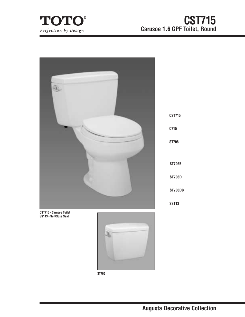 Factory Direct Hardware Toto CST715D Carusoe User Manual | 2 pages ...