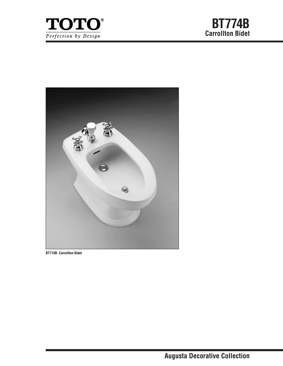 Factory Direct Hardware Toto BT774B Carrollton User Manual | 2 pages