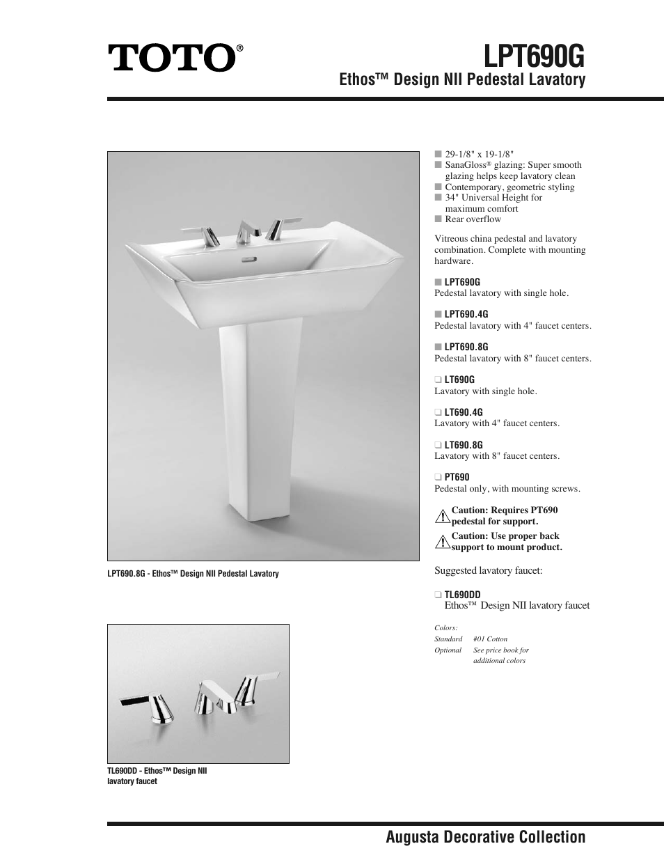 Factory Direct Hardware Toto LT6908G User Manual | 2 pages