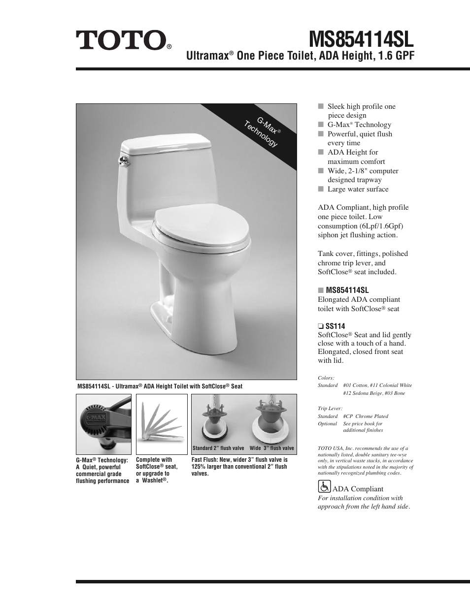 Factory Direct Hardware Toto MS854114SL Ultramax User Manual | 2 pages