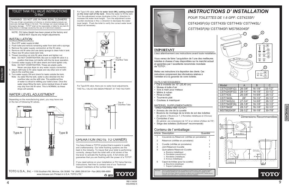 0gu008z-5final p4p9.pdf, Instructions d\' installation, Contenu de l ...