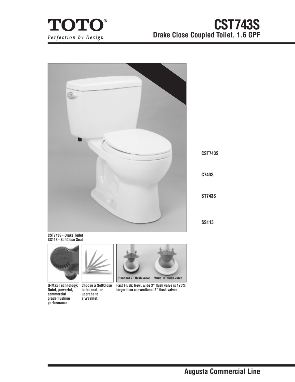 Factory Direct Hardware Toto CST743S Drake User Manual | 2 pages