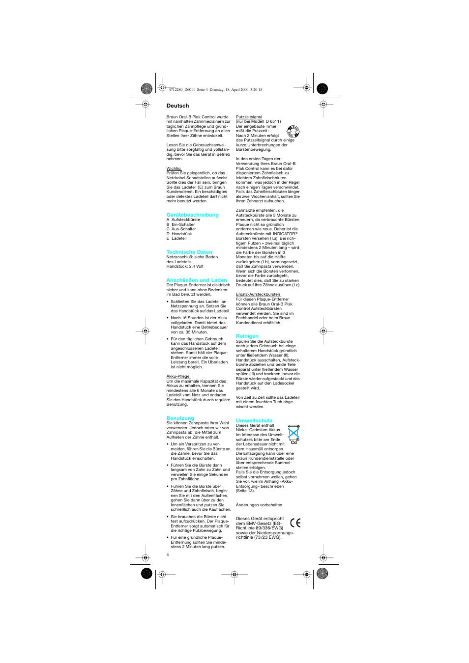 Deutsch | Braun D6011 Plak Control User Manual | Page 4 / 20
