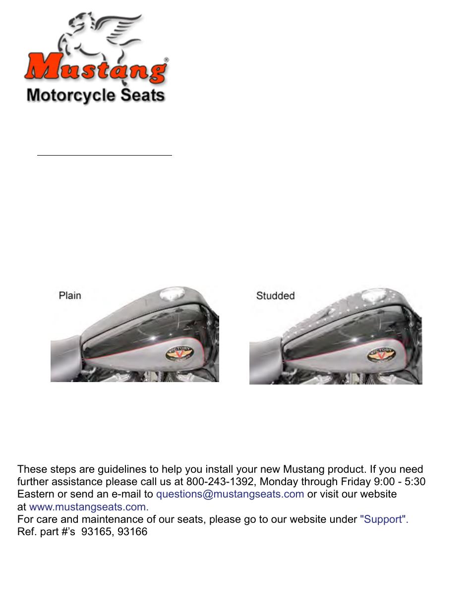 Mustang Motorcycle Seats Studded Tank Bib - Victory V92C User Manual | 1  page