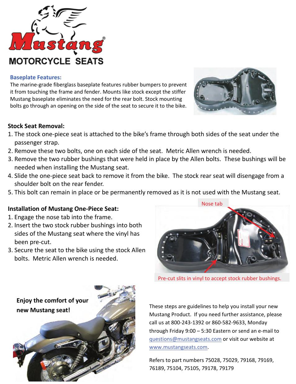 Mustang Motorcycle Seats One-Piece DayTripper - Honda VT750 Spirit & VT750DC  User Manual | 1 page
