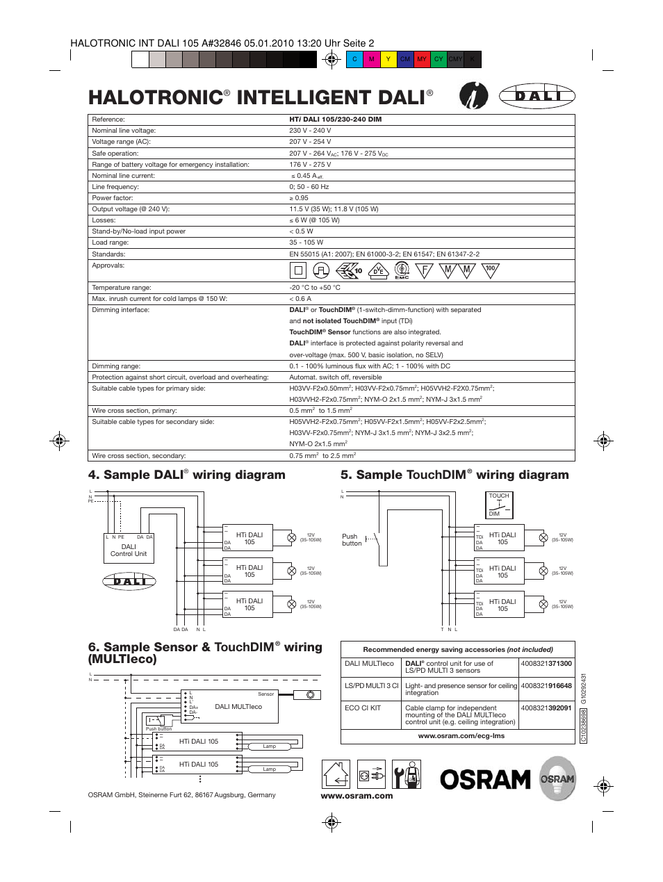 Halotronic, Intelligent dali, Sample touchdim | OSRAM HALOTRONIC Electronic  transformers HTi User Manual | Page 2 / 2