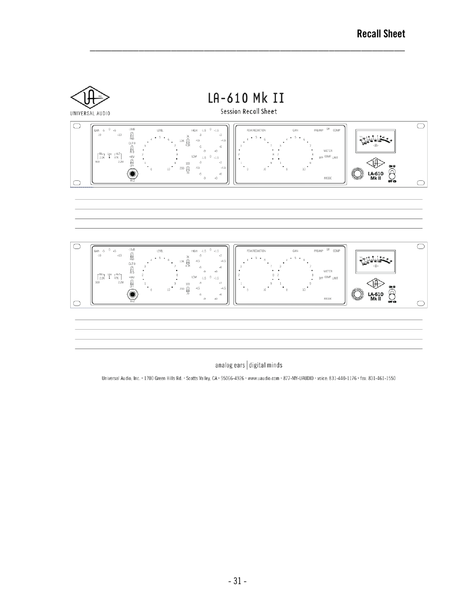 Universal Audio LA-610 Mk II User Manual | Page 35 / 37