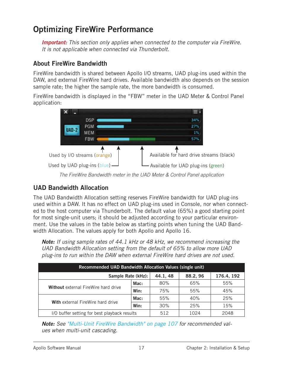 Optimizing firewire performance, About firewire bandwidth, Uad