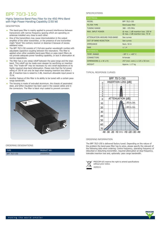 Procom BPF 70-3-150 User Manual | 1 page
