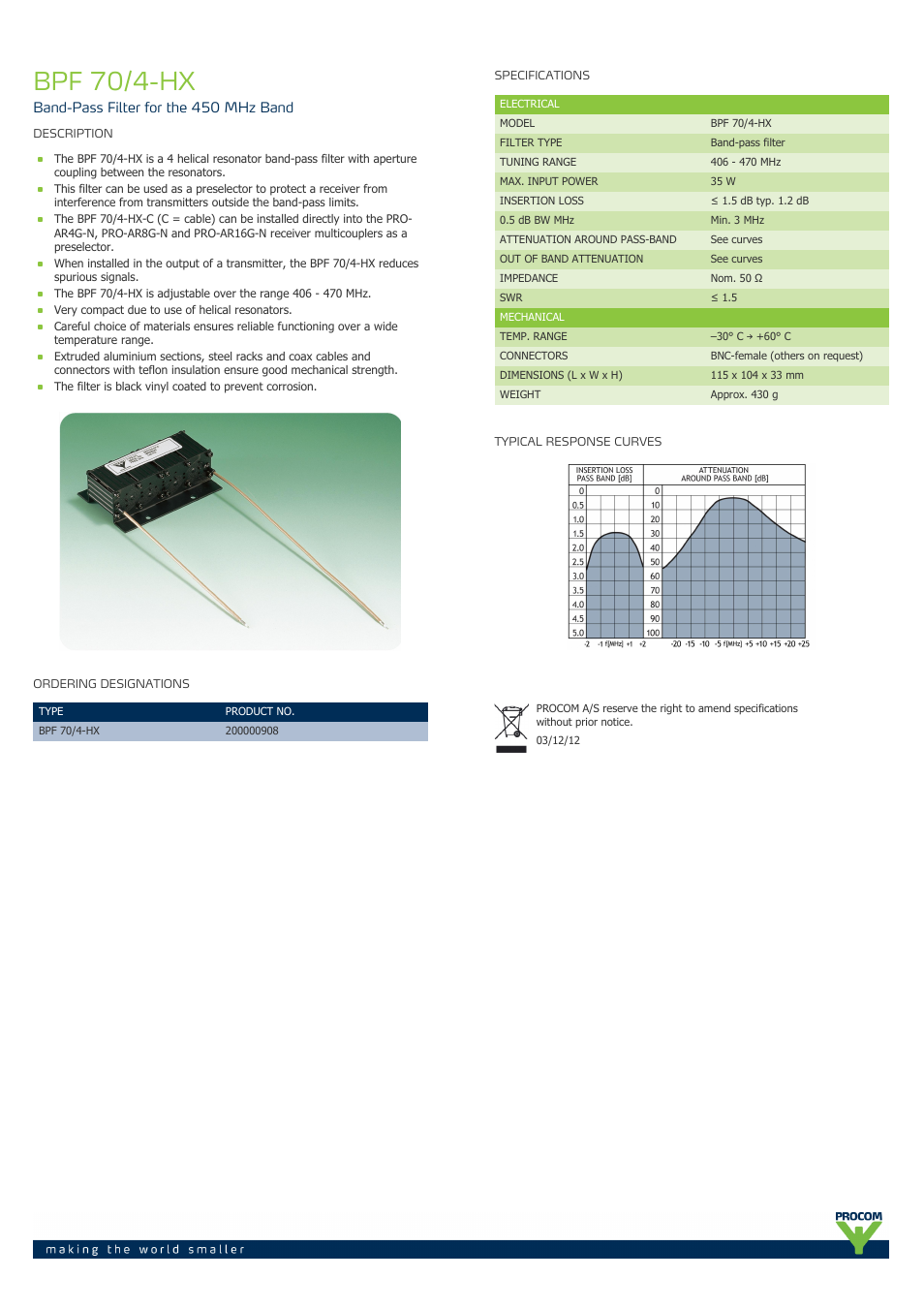 Procom BPF 70-4-hx User Manual | 1 page