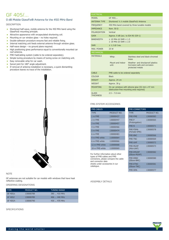 Procom GF 405-    User Manual | 2 pages