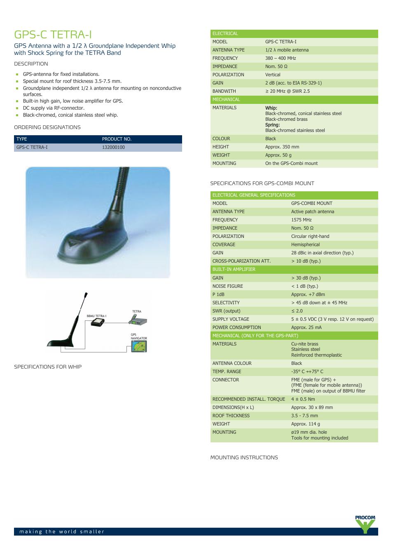 Procom GPS-C tetra-1 User Manual   2 pages
