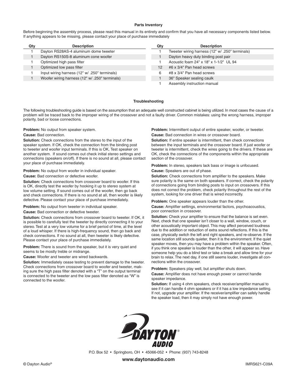 Dayton Audio Rs621 Speaker Kit W User Manual Page 2 Original Wiring Harness Optimization