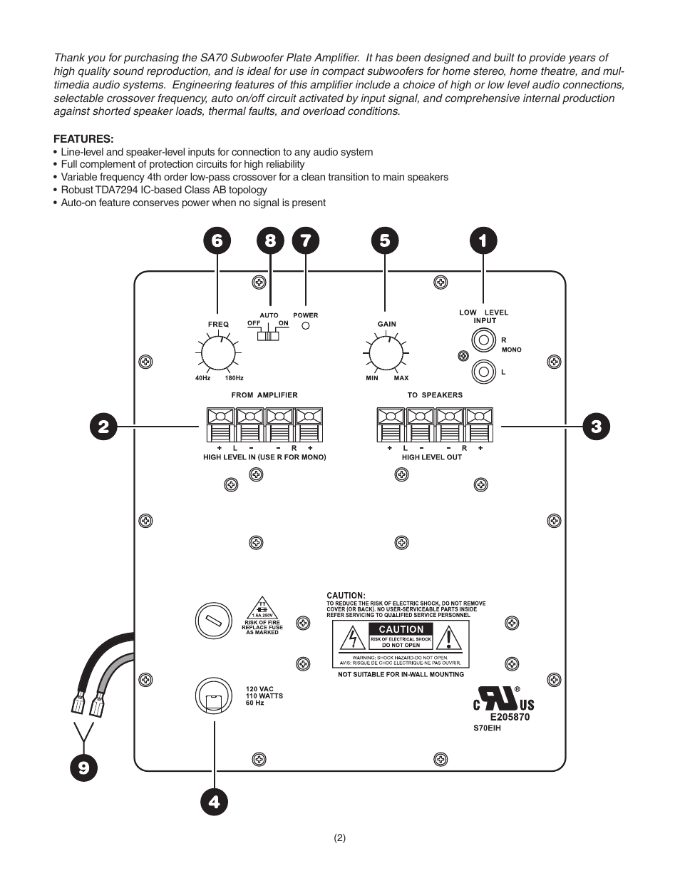 Dayton Audio SA70 70W Subwoofer Plate Amplifier User Manual | Page ...