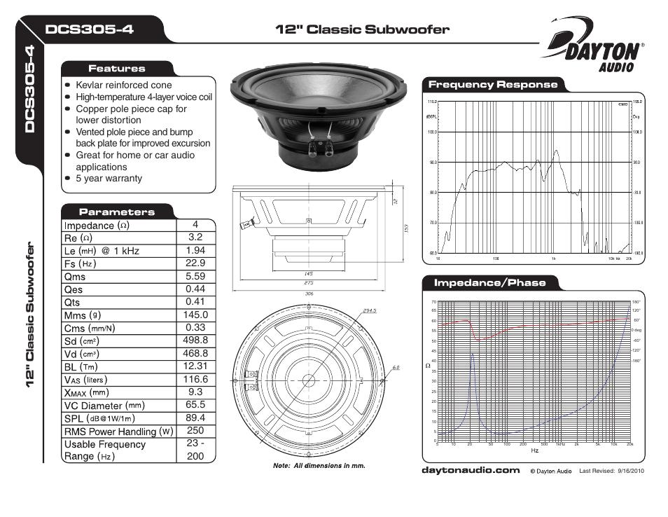 """Dayton Audio DCS305-4 12/"""" Classic Subwoofer 4 Ohm"""