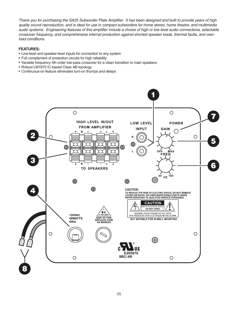 Dayton Audio SA25 25W Subwoofer Plate Amplifier User Manual