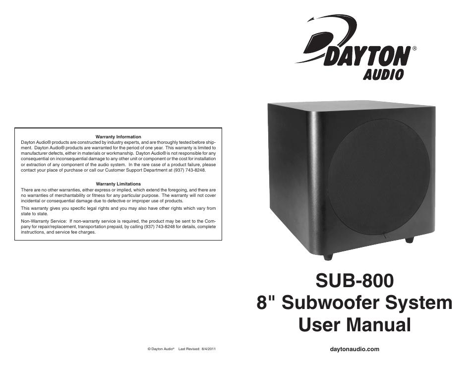 "Dayton Audio SUB-800 8/"" 80 Watt Powered Subwoofer"