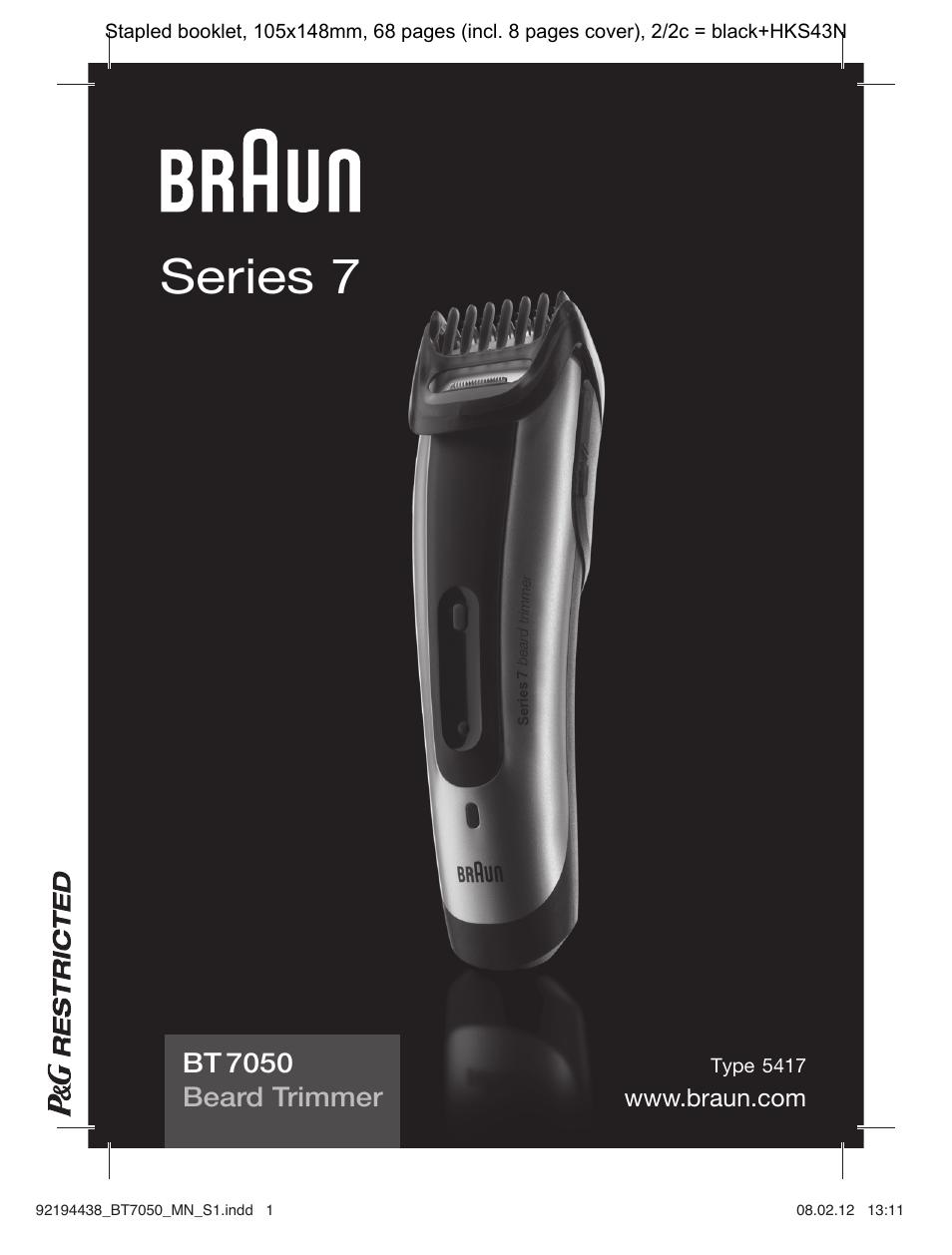 braun bt 7050 beard trimmer series 7 user manual 64 pages Braun Electric Shavers Braun Electric Shavers