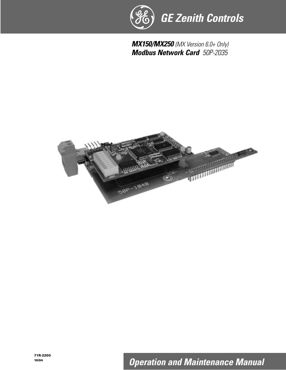 ge industrial solutions mx150 mx250 modbus network card user manual rh manualsdir com GE Capital Credit Card Jewelry Walmart GE Credit Cards