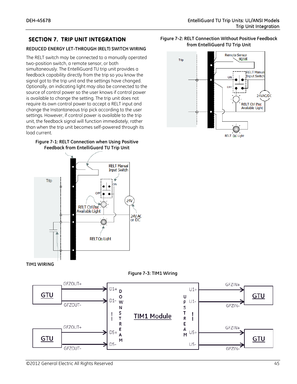 Section 7 Trip Unit Integration Reduced Energy Let Through Relt Industrial Switch Wiring Diagram Tim1 Ge Solutions Entelliguard Tu Units User Manual Page 55 106