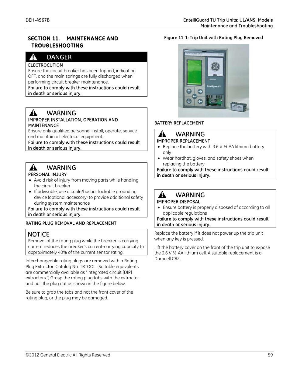Section 11 Maintenance And Troubleshooting Danger Electrocution Tripping Unit Of Circuit Breaker Warning Improper Installation