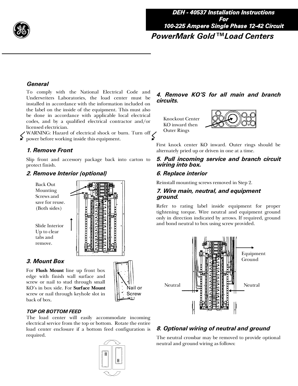 Ge Powermark Gold Load Center Wiring Diagram