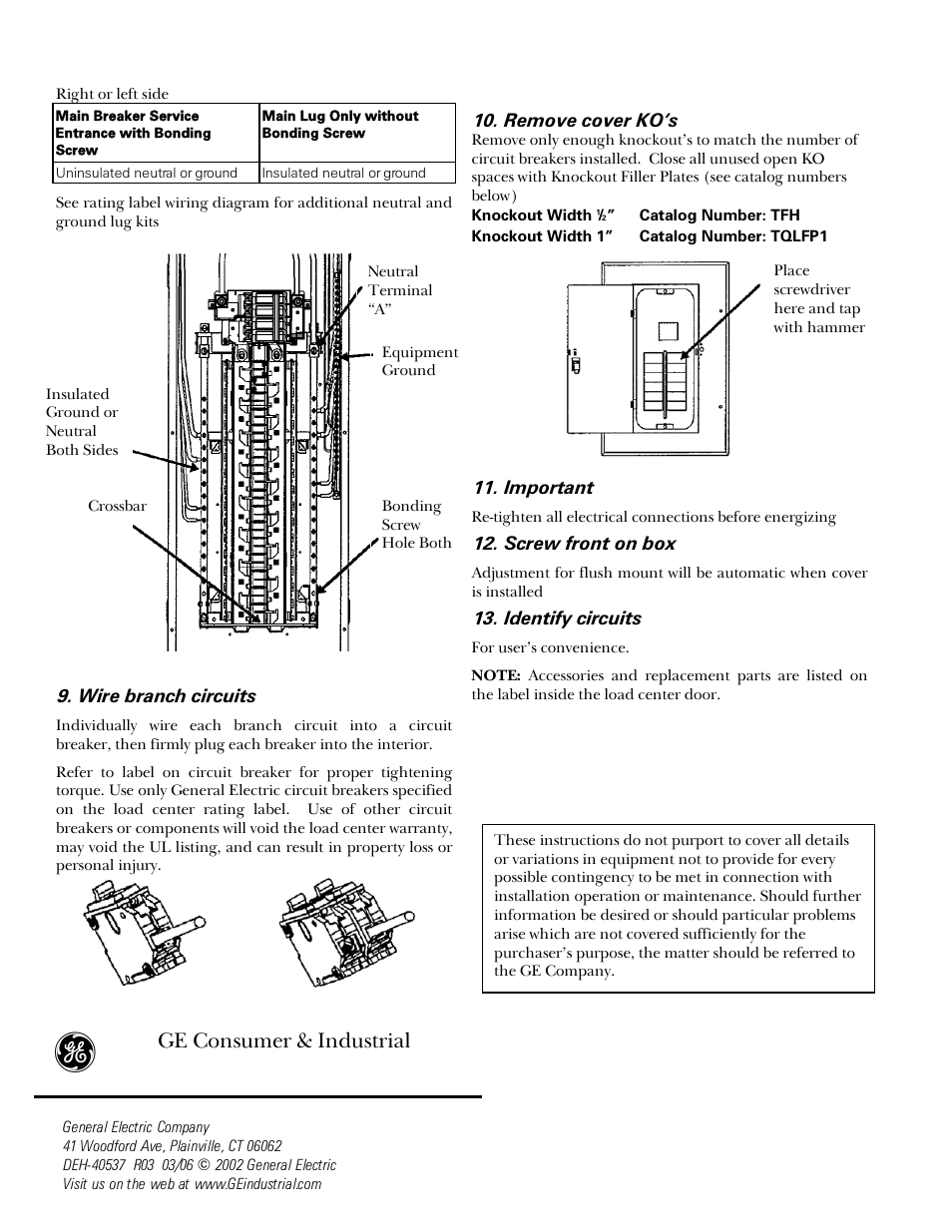 ge consumer & industrial | ge industrial solutions power mark gold load  centers user manual | page 2 / 4