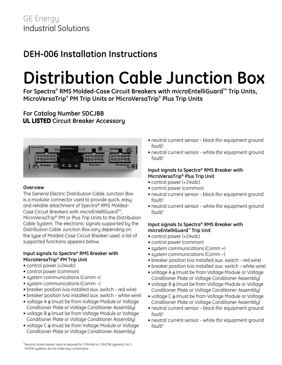 Ge Industrial Solutions Sdcjbb User Manual 2 Pages How To Build A Current Sensor Circuit