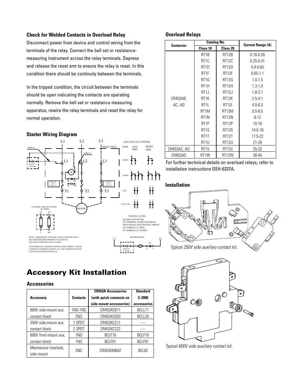 accessory kit installation, overload relays, starter wiring diagram  installation | ge industrial solutions cr454a