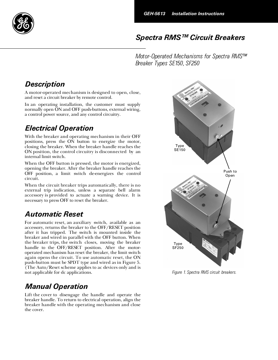Ge Industrial Solutions Spectra Rms Motor Operators Se150 User Wiring Diagram Manual 4 Pages
