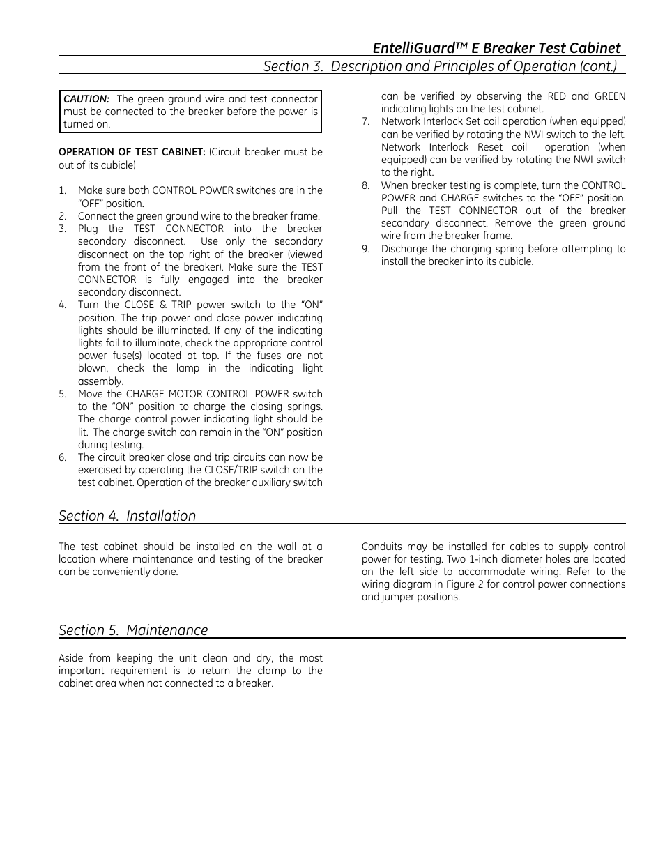Entelliguard Ge Industrial Solutions E Test Cabinet Cubicle Wiring Diagram User Manual Page 7 12